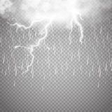 Storm and Lightning with rain isolated. Storm and Lightning with rain and white cloud isolated on transparent background. Vector Stock Photos
