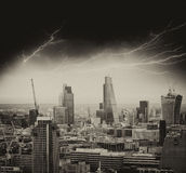 Storm in London. Bad weather over city skyline Royalty Free Stock Images
