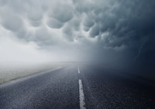 Into The Storm. Mammatus Clouds. Heading into the storm Royalty Free Stock Photography