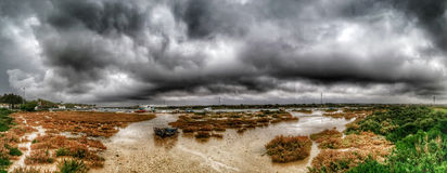 Storm in the marsh. Atlantic storm the wetlands of the Bay of Cadiz Stock Photo
