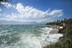 Storm at the Mediterranean Sea, Antalya, Turkey Royalty Free Stock Photography
