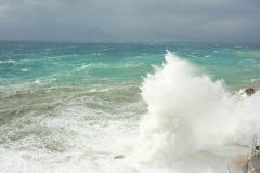 Storm at the Mediterranean Sea, Antalya, Turkey Royalty Free Stock Photos