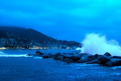 Very shaky sea after a storm on the sea, with waves crashing vio Royalty Free Stock Photos