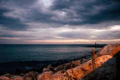 Storm. Mediterranean sea view. Storm in the port. Estepona, Malaga province, Andalusia, Spain Stock Image