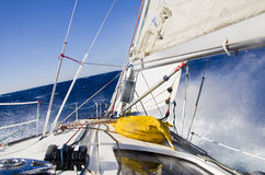Storm in the  mediterranean/ Yacht in the close-hauled course Stock Photography