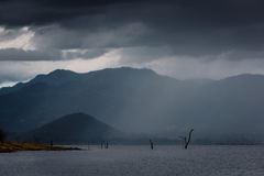 Storm in the middle of the lake in Srinakarin Dam Royalty Free Stock Photo