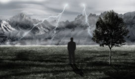 Storm in a mountains. Dark backround with sillhouette and nature Royalty Free Stock Photos