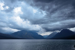 Storm in the Mountains at McDonald lake in Glacier National Park after sunset Royalty Free Stock Photography