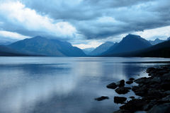 Storm in the Mountains at McDonald lake in Glacier National Park after sunset Royalty Free Stock Photos
