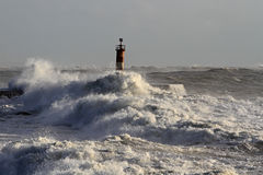 Storm. At the mouth of Ave river, Vila do Conde, Portugal Royalty Free Stock Images