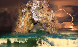 Storm near the cliffs of Golden Gate of Karadag Royalty Free Stock Photo