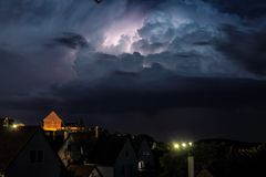 Storm at night - Lightning strike Royalty Free Stock Photography