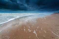 Storm on North sea coast Stock Photo