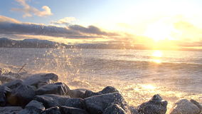 Storm on the North sea. The storm and the sun on the shores of the north sea stock footage