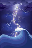 Storm in ocean with lightning strikes and rain. Royalty Free Stock Images