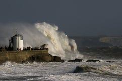 Storm Ophelia battering Porthcawl royalty free stock photography