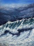 Storm. Original oil painting showing mighty storm in ocean or sea on canvas. Modern Impressionism, modernism,marinism Stock Images