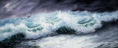 Storm. Original oil painting showing mighty storm in ocean or sea on canvas. Modern Impressionism, modernism,marinism Stock Photography