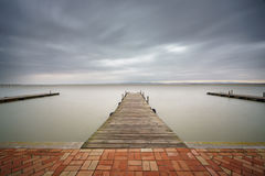 Storm over Albufera with pier, Valencia Stock Images