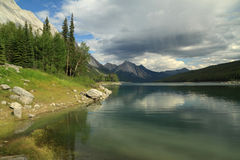 Storm Over Alpine Lake - Jasper, Alberta Royalty Free Stock Photography