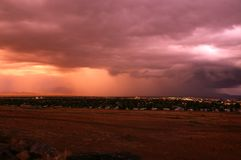 Storm over Arizona town Royalty Free Stock Photo