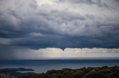 Tornado over the greek island of Kefalonia. Storm over the capital of Kefalonia - city of Argostoli. Tornado over the greek island of Kefalonia stock photography
