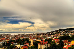 Storm over the city of Trieste Stock Image