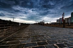 A Storm over the City Wall in Xi`an, China royalty free stock images