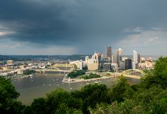 Storm over cityscape of Pittsburgh from Mt Washington overlook royalty free stock photography