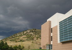 Storm over College Campus. A storm approaching over the University of Colorado at Colorado Springs campus Royalty Free Stock Photos