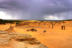 Storm over the Desert. The pinnacles desert west-australia stock photography