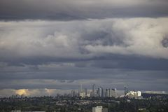 Vancouver, BC, Canada. Storm over downtown of Vancouver, BC, Canada stock photography