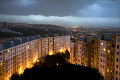 Storm over evening Bratislava habitation Stock Photo