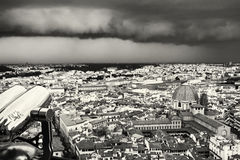 Storm over the Florence city, Tuscany, Italy, black and white Stock Image