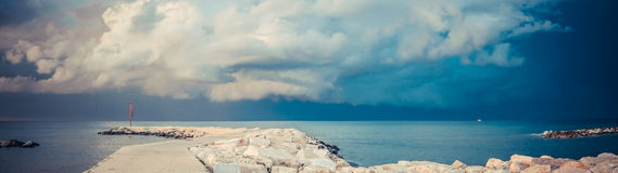 Storm over the harbor Royalty Free Stock Photo