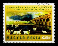 Storm over Hortobagy, Paintings by Tivadar Csontvary Kosztka ser. MOSCOW, RUSSIA - NOVEMBER 26, 2017: A stamp printed in Hungary shows Storm over Hortobagy Royalty Free Stock Photo