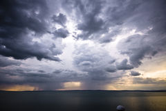 Storm over the lake Balaton royalty free stock image