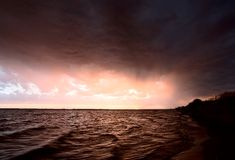 Storm over Lake Diefenbaker Royalty Free Stock Photos