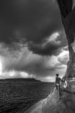 Storm over Lake Powell black and white Royalty Free Stock Photography