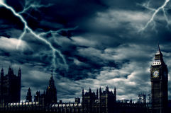 Storm over London. Dramatic sky with lightning over the Big Ben and Parliament building in London Stock Photos
