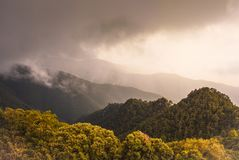 Storm over mediterranean mountain forest hills stock photography
