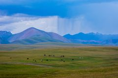 Storm in the mountains of Song Kul. Storm over the mountains next to Song Kul lake, Kyrgyzstan Stock Photo