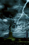 Storm over New York city. Freedom statue with dramatic storm over it Stock Images