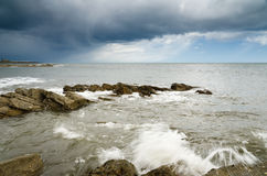 Storm over Newbiggin by the sea Royalty Free Stock Images