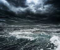 Storm over ocean. Dark stormy sky over ocean with big waves Royalty Free Stock Photography