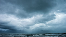 Storm over the ocean. Intense rain storm over the ocean. South Padre Island, Texas Stock Photos