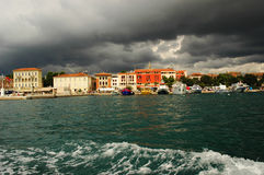 Storm over Porec, Croatia. Boat trip along the coastline to Porrec royalty free stock image