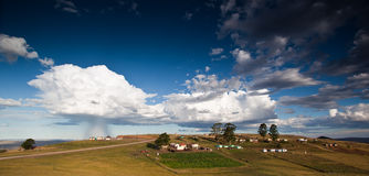 Storm over rural village. In South Africa Royalty Free Stock Images