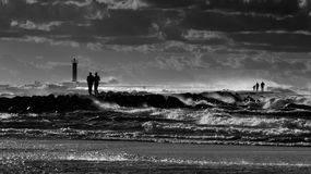 Storm over sea. In bw Royalty Free Stock Photos