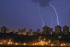 Storm over town Stock Photography